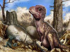 T-Rex nest with nestling & Eggs.