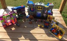 Huge Lot IMAGINEXT BATMAN SUPERHEROS VILLIANS Batcave Joker Gotham lot some new #FisherPriceImaginext