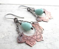 Etched Lotus and Amazonite Earrings by Lost Sparrow Jewelry