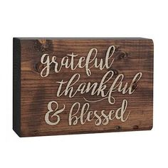 Love this 'Grateful Thankful & Blessed' Box Sign on Grateful, Thankful, Word Block, Little Cabin, Happy Fall Y'all, Choose Joy, Box Signs, How To Distress Wood, Give Thanks