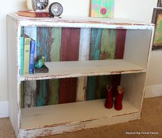 upcycled shelf--added colorful pallet wood