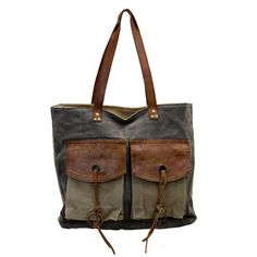 Mona B Large Tote Tan, Charcoal & Leather Rugged Canvas Purse Handbag w/ Pockets #MonaB #TotesShoppers