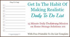 How to get in the habit of making a realistic daily to do list {on Home Storage Solutions 101}