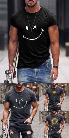 Mens Casual T Shirts, Cool Shirts For Men, Men Casual, Black Men Summer Fashion, Winter Fashion Casual, Stylish Mens Outfits, Casual Outfits, Mens Fashion Wear, Herren Outfit