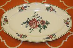 Villeroy Boch Alt Strassburg 13 In Oval Serving Platter No 2 Green Trim Flowers  | eBay