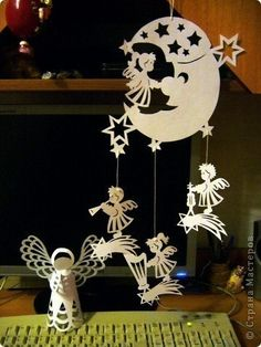 Little Angels - Paper Christmas Decorations Templates - Apartment Interior Design - HomeID Front Door Christmas Decorations, Felt Decorations, Holiday Decor, Christmas Angels, Christmas Diy, Christmas Ornaments, Origami, Diy And Crafts, Paper Crafts