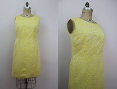 vintage 1960s dress / 60s yellow brocade dress / wiggle dress / plus size vintage by livinvintageshop, $60.00