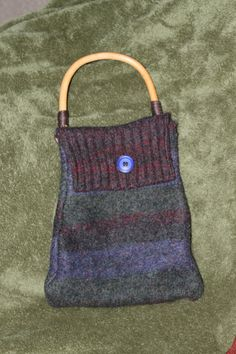Felted wool purse striped multi color bamboo by CraftsByJolly, $25.00