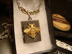 Victorian Style Bee Book Locket Necklace in by ClockworkAlley, $24.00