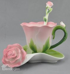 Beddinginn Hand Crafted Collection Porcelain Coffee Tea Cup Sets with Saucer and Spoon Rose Shape Design(Pink) Coffee Cup Set, Tea Cup Set, My Cup Of Tea, Cup And Saucer Set, Tea Cup Saucer, Tea Sets, Coffee Mugs, Teapots And Cups, Teacups