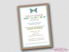 Preppy Little Man   Bow Tie Baby Shower by inkberrycards on Etsy, $18.00
