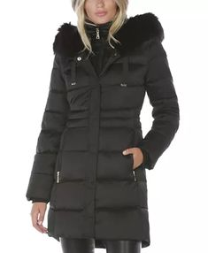 Tahari Faux-Fur Trim Hooded Puffer Coat & Reviews - Coats - Women - Macy's Winter Is Comming, Fur Lined Coat, Fur Trim, Coats For Women, Faux Fur, Hoods, Winter Jackets, Clothes, Eyewear