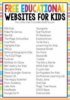 Preschool Learning, Learning Resources, Teacher Resources, Free Learning Websites, Websites For Teachers, Fun Websites For Kids, Classroom Websites, School Websites, List Of Websites