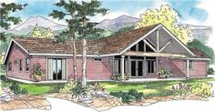 The Ottawa home plan is a single story, Cabin Style house plan with 2145 total living square feet. This cabin home plan could be a vacation home or a year-round residence. Bright, spacious vaulted great room fills the core; covered porches are both front and back. Plenty of storage in the bedrooms, hallways, kitchen, utility room and garage.