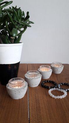 concret, beton, świeczniki z betonu, DIY