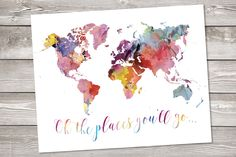 World map Printable art Wanderlust Floral Watercolor world map Geography print quote Travel decor art rainbow map art the places you'll go World Map Printable, Printable Wall Art, Water Color World Map, Watercolor Map, Travel Drawing, Map Art, Quote Prints, Art World, Word Art
