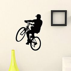 Wall Decal Vinyl Sticker Sport Boy Cycling Bicycle Decor ... #cycling #racing #bicycle #sport #gym #fitness #office #decor #art #home #wall #decal #sticker #mural