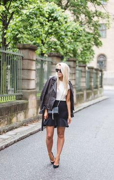 2015 leather jacket / IRO  body / H&M   skirt / Zara,  bag / Saint Laurent  shoes / Topshop