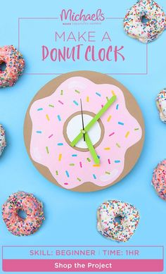 Home decor in need of a sugar rush? MAKE it happen with this adorable donut clock! In just a few simple steps and a sprinkle of creativity, you'll be able to MAKE this clock look good enough to eat! Find the tutorial and shop the products on the Michaels project page.