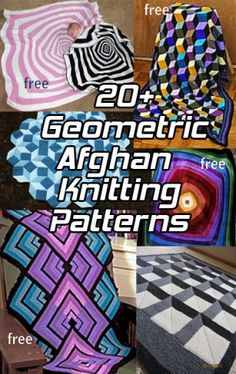 Afghan Knitting Patterns with Geometric, Op Art Designs, many free knitting… Easy Blanket Knitting Patterns, Beginner Knitting Patterns, Knitting Stiches, Knitted Afghans, Afghan Patterns, Knitted Blankets, Loom Knitting, Free Knitting, Knitting Projects