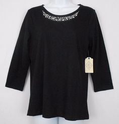 St Johns Bay Top Black Size M S Cotton Blend Solid Embellished Neck 3/4 Sleeve - This womens St. Johns Bay cotton blend slubbed knit top,  with an embellished scoop neck and three quarter sleeves,  would be perfect for casual or career wear, or for gifting.