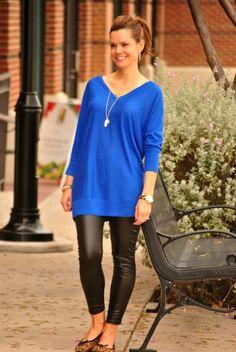 Cobalt blue, leather leggings and leopard flats.