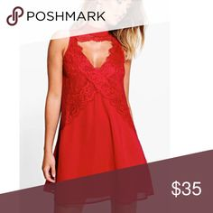 Boutique Flo High Neck Lace Front Swing Dress Absolutely love this dress! Only worn once. So flowy & such a beautiful vibrant berry red color. Not listed brand Sabo Skirt Dresses Mini