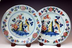Pair of English London delftware polychrome coloured plates 18th century pottery
