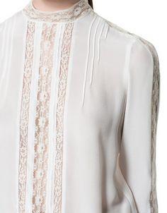 SILK LACE BLOUSE - Shirts - Woman - New collection - ZARA United States