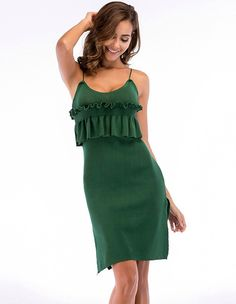 afbe6918770 Solid Color Ruffle Peplum Sides Slit Summer Knit Slip Dress