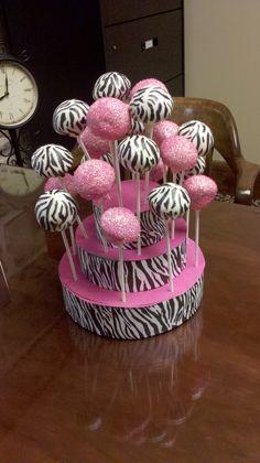 Zebra and hot pink cake pops