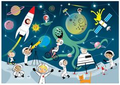 OUTER SPACE Themed Children's Wall Art or Print, Boy's Room Space Theme, Space Adventures, Astronauts, Rockets, Aliens, Planets, UFOs Giclee by nilaayeshop on Etsy https://www.etsy.com/listing/238316980/outer-space-themed-childrens-wall-art-or