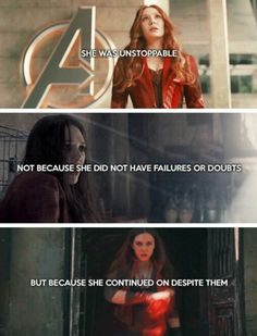 She was unstoppable. Not because she did not have failures or doubts, but because she continued on despite them. #marvel