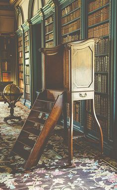 library steps or ladder with enclosed top platform, at Wimpole Hall country house, Hertfordshire, UK