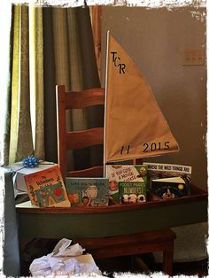 Boat with books at a Where the Wild Things Are baby shower party! See more party ideas at CatchMyParty.com!
