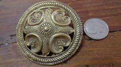 Kalevala Koru Signed KK Brass Shield Pin Brooch Made in Finland Vintage Antique