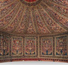 Iran, Rasht, Qajar period (1779-1925), Royal Tent Made for Muhammad Shah (ruled 1834-48), Interior: wool: plain weave, inlaid work; silk: embroidery, chain stitch; tape, leather ; Exterior: cotton, wool: plain weave; rope, iron ring, Cleveland Museum of Art