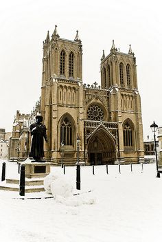 Bristol Cathedral under snow - College Green, Bristol, UK