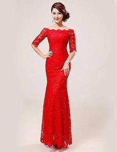 Trumpet / Mermaid Scalloped Floor-length Lace Evening Dress – USD $ 129.99