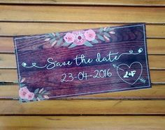 Placa Save the Date tipo Madeira Escura