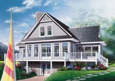 Discover the plan - Pocono 5 from the Drummond House Plans house collection. A-Frame Rustic Country Cottage plan, 4 bedrooms, 3 bathrooms, screened-in porch, unfinished walkout basement. Total living area of 2416 sqft. Basement House Plans, Lake House Plans, Best House Plans, Walkout Basement, Cabin Plans, Cottage House Plans, Country House Plans, Cottage Ideas, House 2
