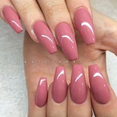 awesome Rose colored coffin nails - stunning!...
