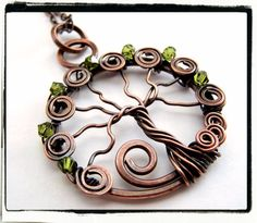 Antique Copper Faerie Green Crystal Tree of Life my-handmade-jewelry