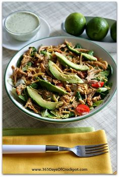 Recipe for Slow Cooker Chicken Rio Salad with Tomatillo Ranch Dressing - 365 Days of Slow Cooking