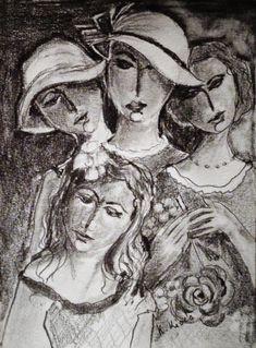 Nővérek, grafit, 30x21cm. Painting, Art, Art Background, Painting Art, Kunst, Paintings, Gcse Art