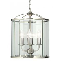 Oaks Lighting Fern 4 Light Ceiling Lantern in Antique Chrome Finish