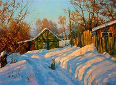 Dmitry Levin - paintings and prints for sale of artist Painting Snow, Winter Painting, Winter Art, Winter Landscape, Landscape Art, Landscape Paintings, Russian Painting, Russian Art, Winter Scenery