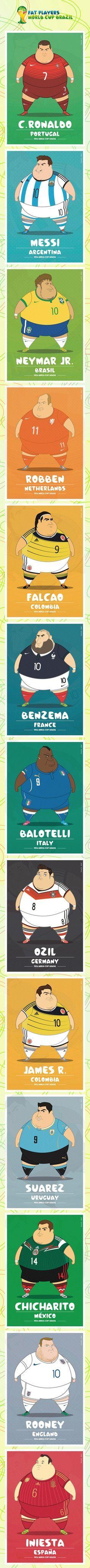 Mundial Brasil 2014. Jugadores de fútbol gordos
