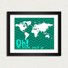 Oh the places 10 x 8 World map travel print SALE by EinBierBitte, $19.90