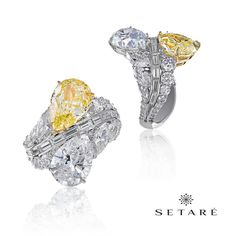 "Our classic ""Toi Et Moi"" collection, this magnificent piece pairs a 4.15cts stunning Fancy Intense Yellow with a 4.04cts Pure D color pear-shaped diamond. #setaré #HighJewelry"